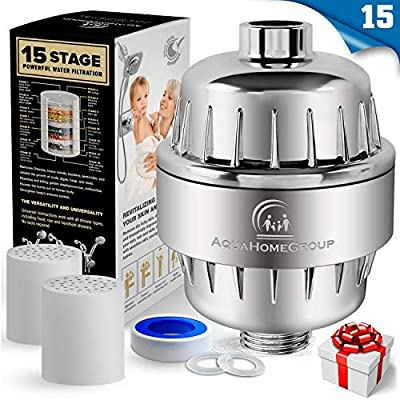 AquaHomeGroup 15 Stage Shower Filter with Vitamin C for Hard Water - High Output Shower Water Filter to Remove Chlorine and Fluoride - 2 Cartridges Included - Consistent Water Flow Showerhead Filter