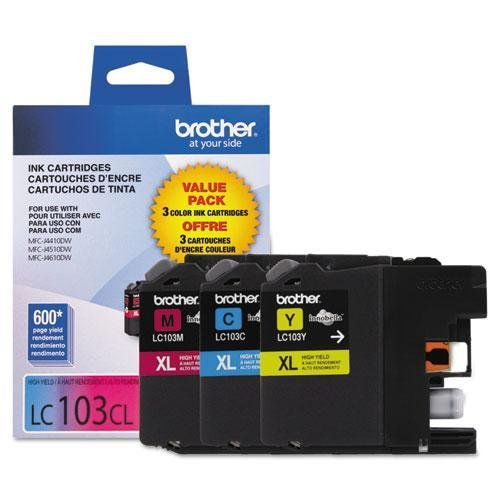 (Brother LC103 Ink Cartridge ( Cyan,Magenta,Yellow , 3-Pack)