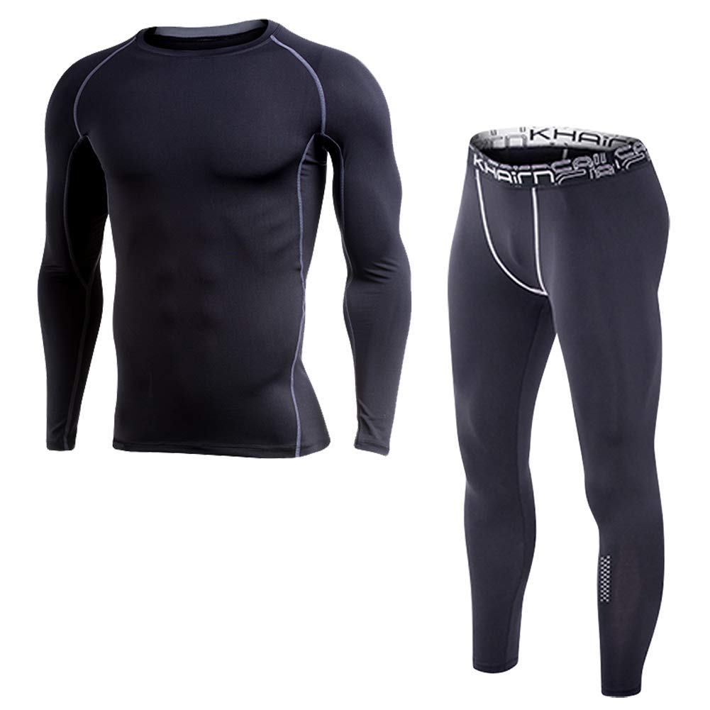 SI GE TU Men's Compression Quick Dry Fleece Base Layers Set Thermal Underlayer