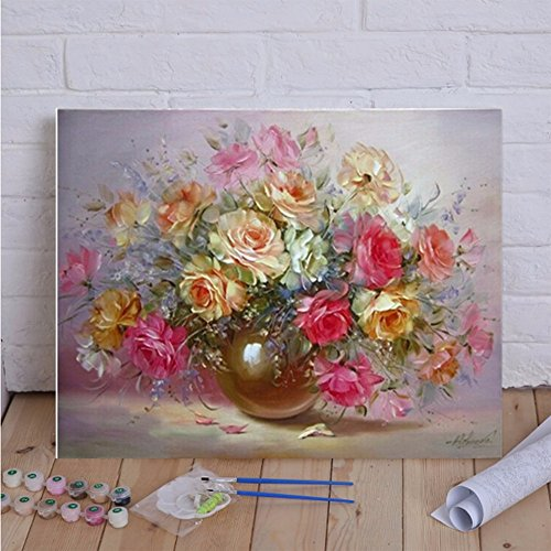 Gydoxy(TM) 40x50cm Frameless Oil Painting Flowers Picture On Wall Paint By Numbers Drawing Unique Artistic Gift Indoor Display Hand Painted (Wall Mural Kits Number By Paint)