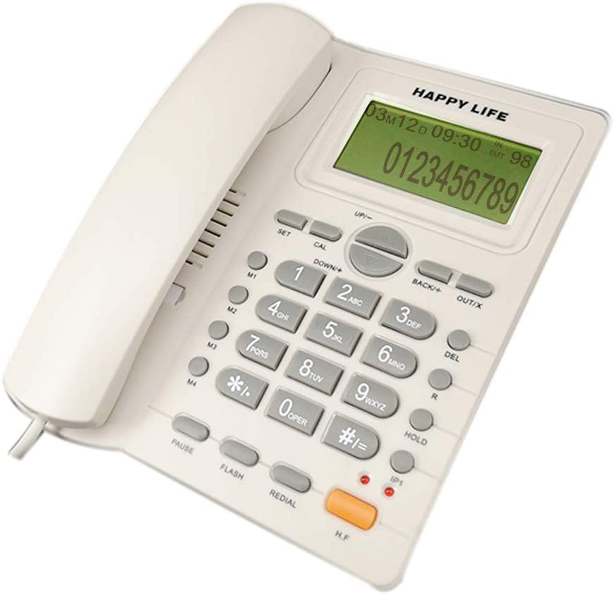 CALLANY Landline Phone, Office Telephone with Call ID/Speakerphone, Large Number Button for Office, Hotel and Home, Elegant White
