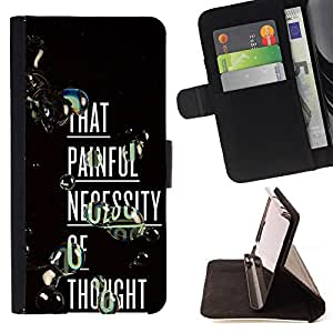 BullDog Case - FOR/Sony Xperia M2 / - / PAINFUL THOUGHT DEEP INSPIRING TEXT /- Monedero de cuero de la PU Llevar cubierta de la caja con el ID Credit Card Slots Flip funda de cuer