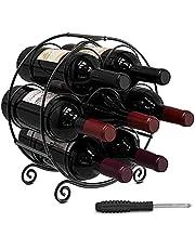 Housolution Wine Racks Countertop, 7 Bottles Freestanding Metal Wine Holder with Screwdriver, Wine Bottle Holder Organizer for Table Kitchen Bar, Black