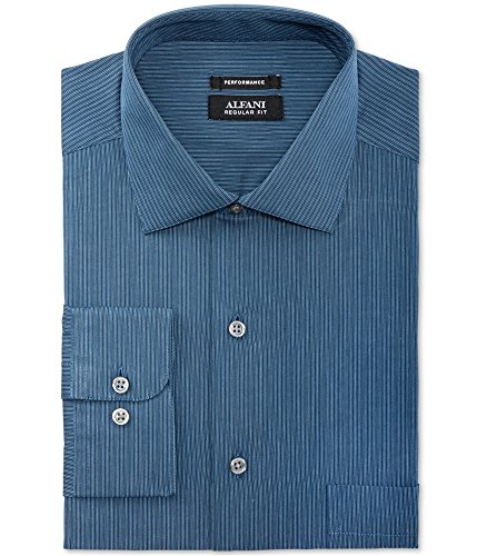 Alfani Mens Striped Performance Button Up Dress Shirt, Blue, 17.5