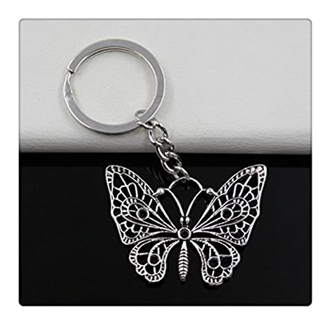 Fashion diameter 30mm Key Ring Metal Key Chain Keychain Jewelry Antique Silver Plated hollow butterfly 4838mm - Silver Plated Keychain