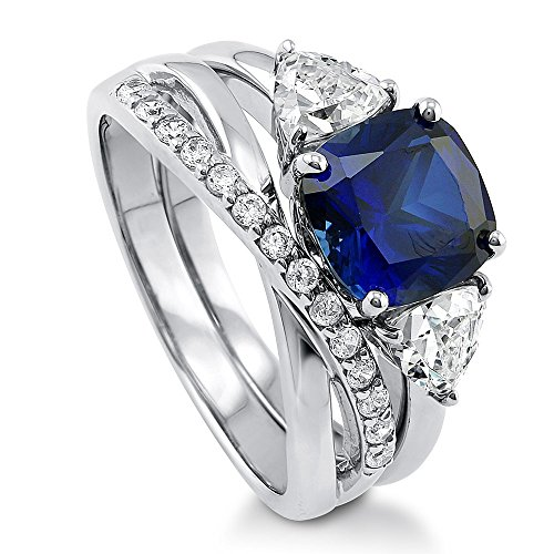 Ring Trillion Accented - BERRICLE Rhodium Plated Sterling Silver Simulated Blue Sapphire Cushion Cut Cubic Zirconia CZ 3-Stone Infinity Engagement Wedding Ring Set 4 CTW Size 8