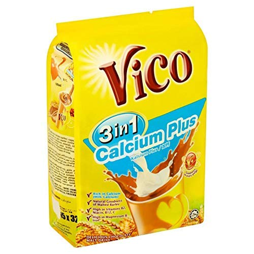 5 Pack Vico 3 in 1 Calcium Plus Chocolate Malt Drink (5 x 15 sachets) Free Express Delivery by VICO (Image #2)
