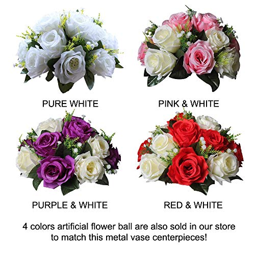 Sfeexun Versatile Metal Flower Arrangement & Candle Holder Stand Set Candlelabra for Wedding Party Dinner Centerpiece Event Restaurant Hotel Decoration (Twist Style, 10 x L) by Sfeexun (Image #6)