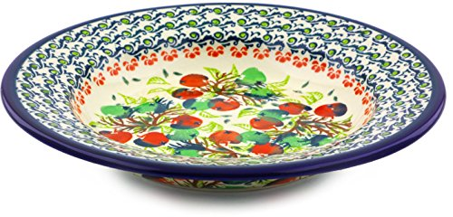 Polish Pottery Pasta Bowl 9-inch (Red And Green Berries Theme) ()