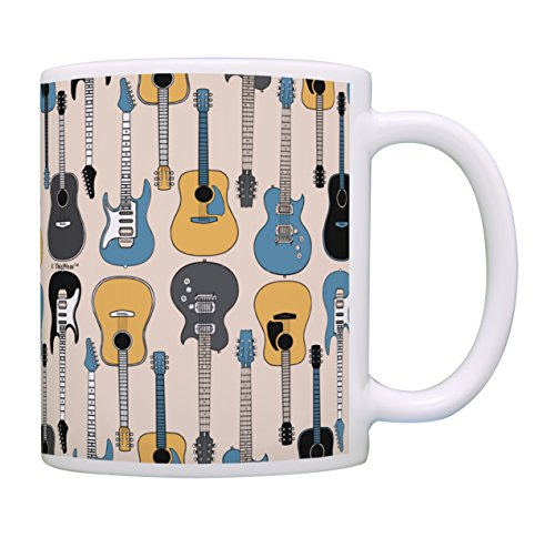 Music Lover Gifts Electric and Acoustic Guitar Mug Music Teacher Mug Music Themed Gift for Women Music Related Gifts Rock Gifts for Men Gift Coffee Mug Tea Cup Guitars ()