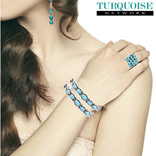 Turquoise Bracelet Sterling Silver 925 Genuine Turquoise (Select Style) (Great Artisan) by Turquoise Network (Image #2)