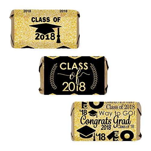 Class of 2018 Graduation Miniatures Candy Bar Wrapper Stickers, Set of 54 (Black and Gold)