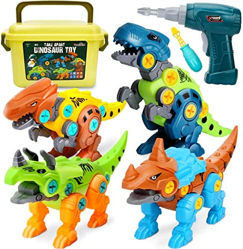 Dreamon Take Apart Dinosaur Toys for Kids 5-7 – Dino Building Toy Set for Boys and Girls with Electric Drill Storage Box – Construction Play Kit Stem Learning Gifts for Kids