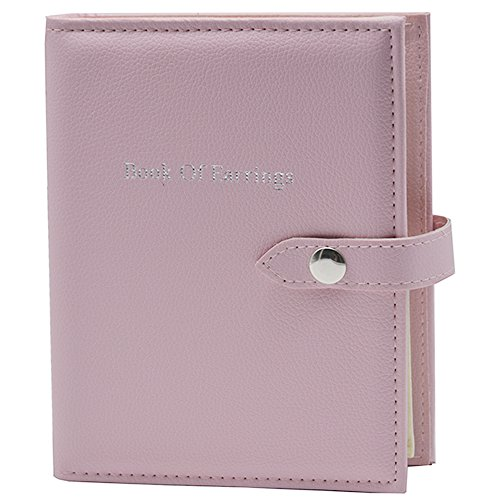 OLizee 48 Pairs Portable Earrings Book Jewelry Display Organizer Ear Studs Storage Book(Pink) 48 Page Book