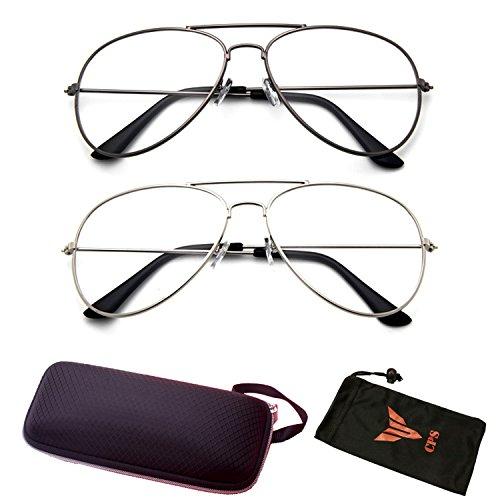 (#CHR40 GM&Slv) 2 Pairs Aviator Men Women Unisex Metal Retro Classic Reader (Strength - Glasses Round Frame Wire