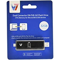 V7 VUOTG32G-BLK-3N 32GB Dual Connector ON-THE-GO Flash Drive - OTG Memory for MicroUSB & USB devices