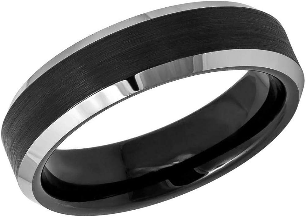 2-Tone Black IP Beveled Edge Comfort Fit Tungsten Carbide Anniversary Ring TosowebOnline Unisex 6mm Brushed Finish
