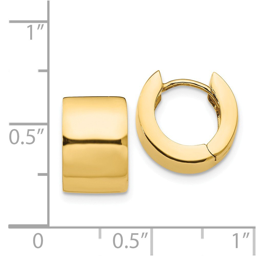 Hinged Huggie Round Hoop Earrings in 14k Yellow Gold, 13mm (1/2 Inch) by The Black Bow (Image #3)