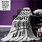 Xo Custom blanket Mermaid Kisses Starfish Wishes Love Valentines Message Inspirational Quote Image all weather blanket Black and White size:60''x80''