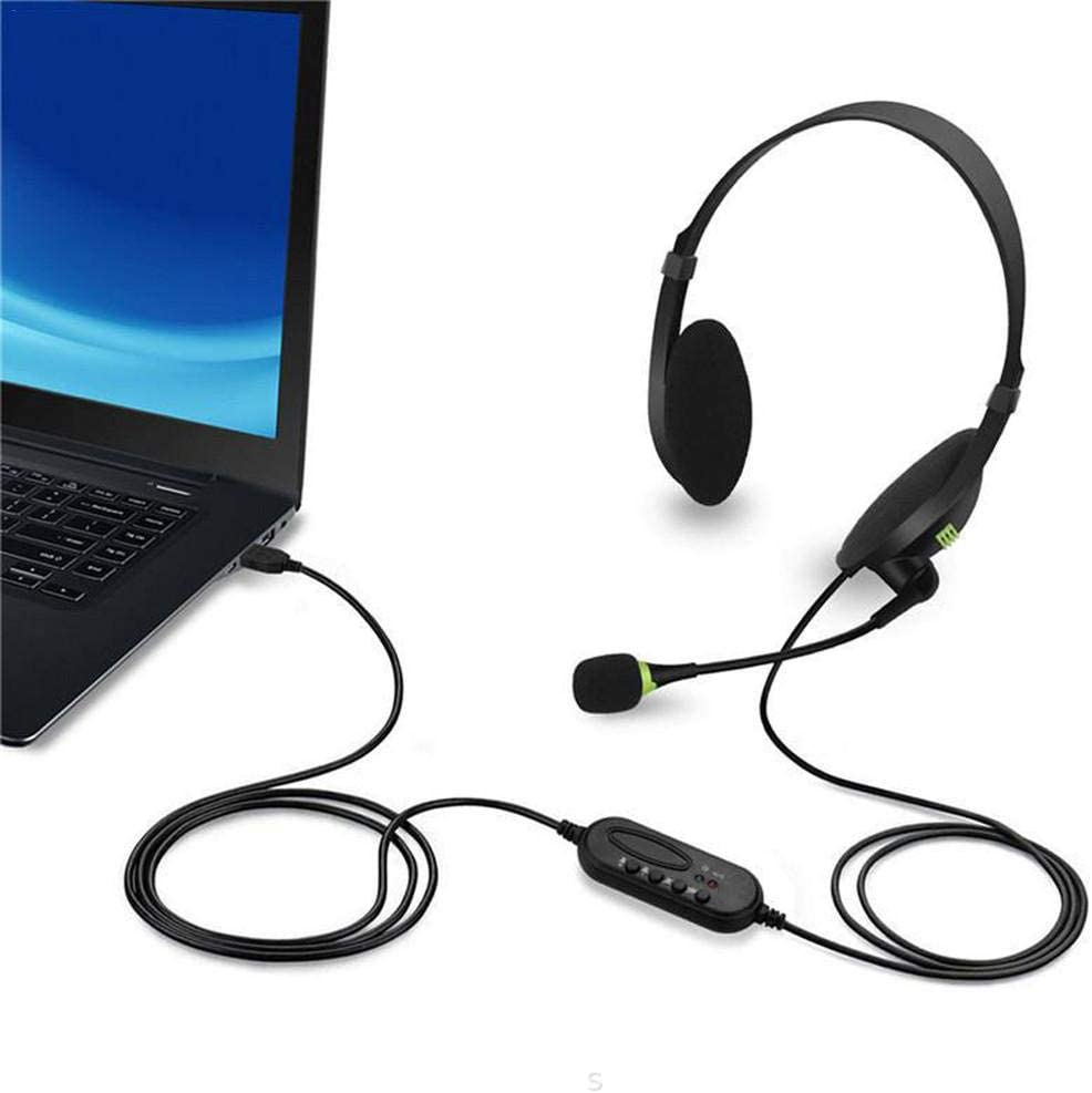 Auriculares para Centro de Llamadas con cancelaci/ón de Ruido de micr/ófono Auriculares comerciales con Cable para Skype//PC//Laptop//M AC Auriculares USB para computadora
