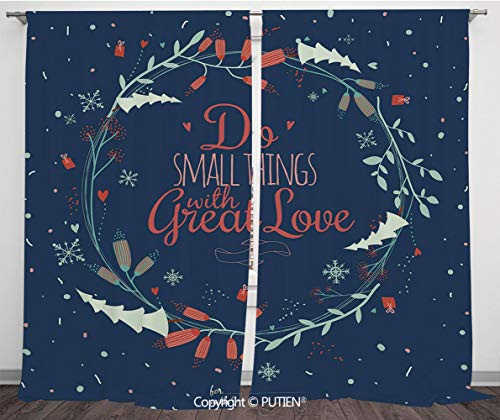 (Satin Window Drapes Curtains [ Quote,Romantic Floral Wreath with Laurel Leaves Loving Wishes Calligraphy Vintage Decorative,Navy Mint Green Red ] Window Curtain Window Drapes for Living Room Bedroom D )
