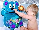 Herman Bear Baby Bath Toy Organizer - Toddler Bathtub Toy Storage Holder - Bathroom Toy Net Bag + heavy duty suction cups, Blue