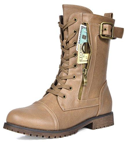 DREAM PAIRS Women's New Mission Khaki Combat Mid Calf Boots Size 5.5 B(M) US