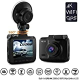 LAYDRAN 4K Dash Cam Car DVR Dashboard Camera Recorder, Built-In WiFi & GPS, G-Sensor, WDR, 2.4 LCD, 150 Degree Wide-Angle Lens, Loop Recording, Modtion Detect,Parking Monitor, H.264 Compression