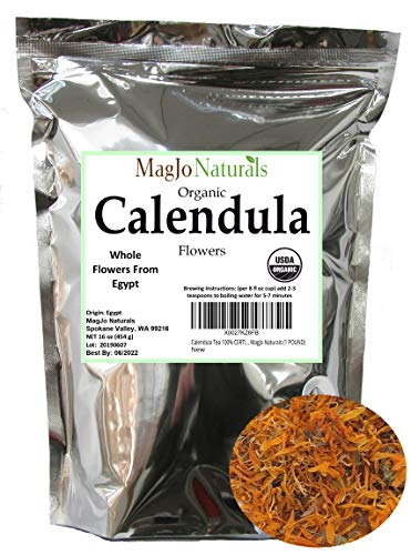 Calendula Tea 100% CERTIFIED Organic Whole Flower Calendula Herbal Tea (Calendula Officinalis), Caffeine Free in Resealable Kraft BPA free Bags from MagJo Naturals (1 POUND)