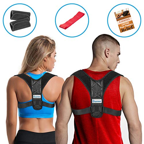 Posture Corrector for Women & Men + Bonus Stretching Band, Keychain, Adjustable Clavicle Brace Perfect for Shoulder Support, Upper Back Correction, Medical Kyphosis Trainer Under Clothes INSPIRATEK