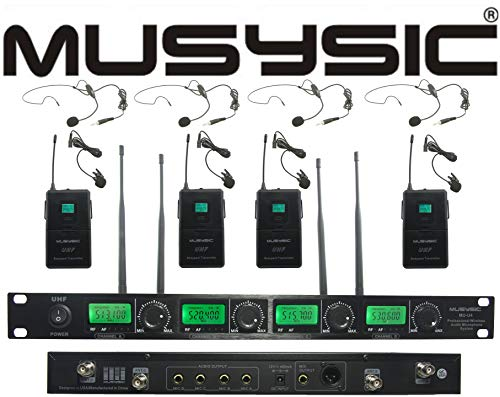 MUSYSIC U4LL 4-Channel Professional UHF Lapel/Lavalier & Headset Wireless Microphone System (FCC Compliance)