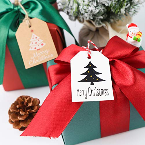Koogel Christmas Kraft Paper Labels, 100 Pieces Gift Tags Labels with 1 Roll of String for Christmas Decoration