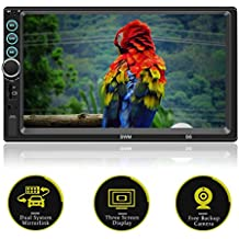 Double Din 7 Inch Touch Screen Car Stereo with Bluetooth MirrorLink USB/SD/AUX/FM Radio with Backup Camera Steering Wheel Remote Control