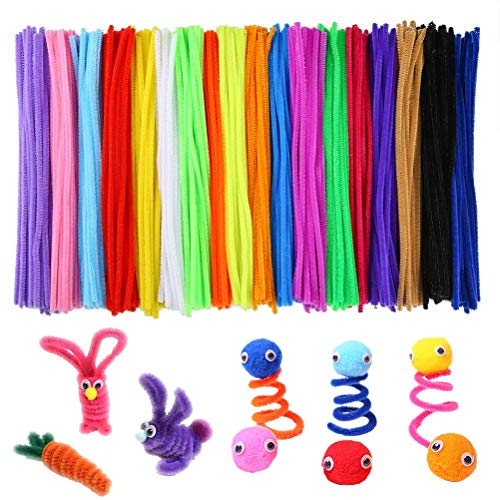 (500 Pieces Pipe Cleaners Chenille Stems 6 mm x 12 Inch for DIY Art Craft, Assorted 25 Kinds of Colors)