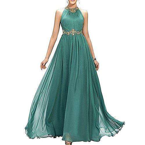 Chiffon Beaded Long Halter Gown - 5