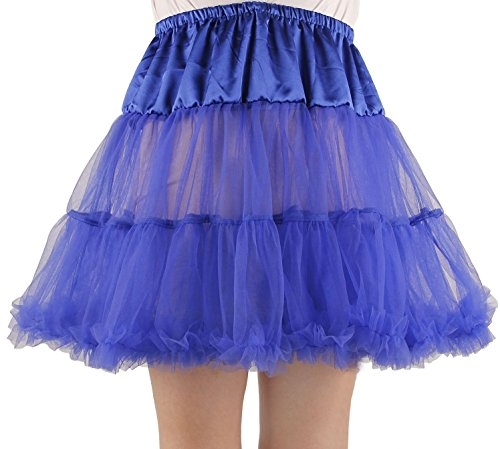Renaissance Jester Or Clown Costumes (Ponce Fashion Women's Princess Mini Tutu Skirt Short Petticoat - Royal Blue)