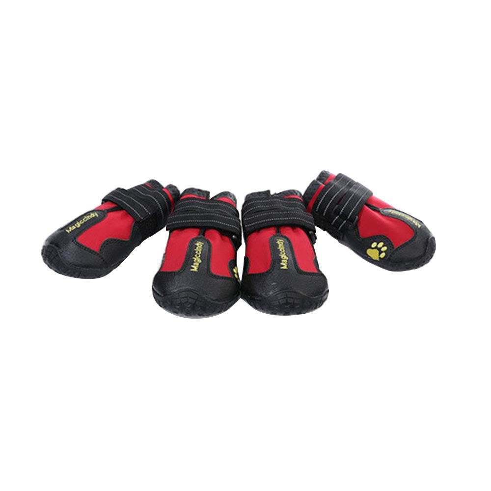 Red 6 Red 6 Dog shoes Rubber Sole Waterproof Pet Snow Boots Rain Booties Anti-Slip Paw Predector Breathable Foldable shoes Warm Winter Set of 4,Red,6