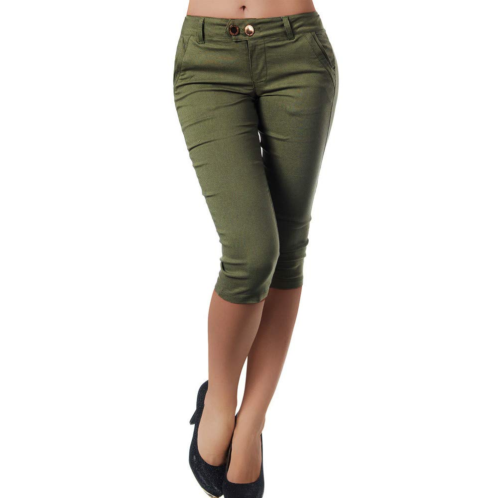 Pervobs Women Plus Size Solid Button Zipper High Waist Calf-Length Pants Trousers(S, Army Green)