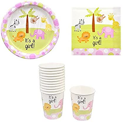 Amazoncom Baby Shower Paper Plates Cups And Napkins Its A Girl