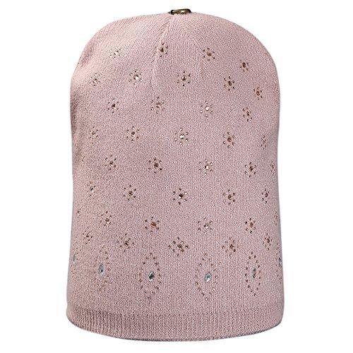 Litetao 2017 Fall Women Fashion Hot Drill Cap Crochet Winter Warm Casual Cap (B) (Wool Drill Hat)