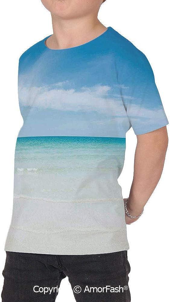 Ocean Childrens Classic Basic Printed Ultra Comfortable T-Shirt,Beach at Tropi