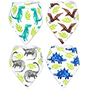 Stadela Baby Adjustable Bandana Drool Bibs for Drooling and Teething Nursery Burp Cloths 4 Pack Baby Shower Gift Set for Boys – Jurassic Adventure with Prehistoric Dinosaur