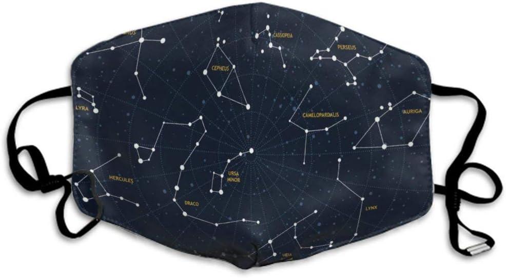 Ma-scarillas Unisex Safety Lavable Reutilizable Revestimiento de protección respiratoria para Guardapolvos, Constelación