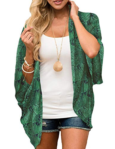 (Women's Summer Kimonos Sexy Swimsuit Cover ups Short Sleeve Cardigan Green M)