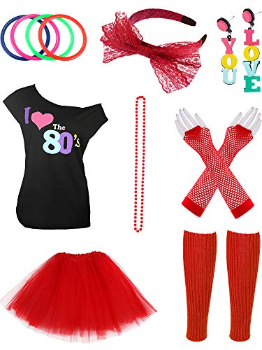 Jetec 80s Costume Accessories Set Necklace Bangle Leg Warmers Earrings Gloves Tutu Skirt T-Shirt for Party Accessory (M, Color Set 4) ()