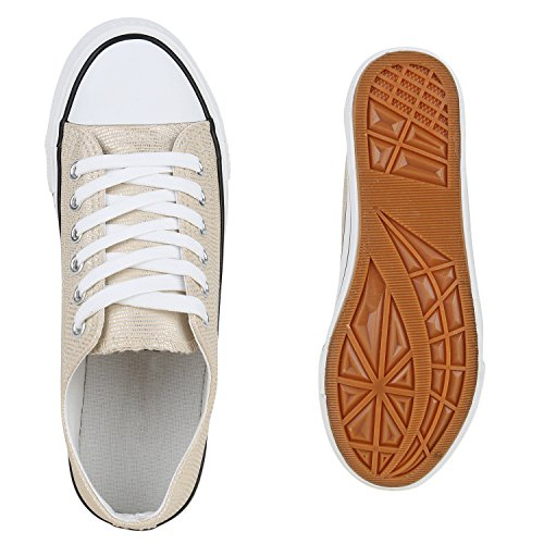dcadc931fe12 ... Stiefelparadies Glitzer Damen Sneakers Sneaker Low Metallic Schnürer  Denim Flats Turnschuhe Sportschuhe Flandell Gold Glitzer Weiss