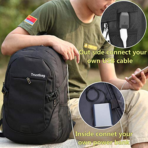 Laptop Backpack Travel Accessories Daypack for Men Women,Large Lightweight School College Book Bag with Computer & Notebook Compartment and USB Charging Port for Business Hiking Traveling (Black-2)