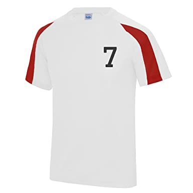 ce39c6412 Kids Personalised Contrast Sport T Shirt Team Kit Football PE Gym Name  Number  Amazon.co.uk  Clothing