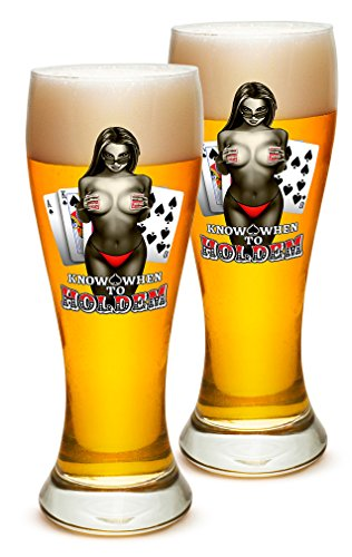 Pilsner - Poker Man Cave Gifts for Men - Know When To Hold Them Set of 12(23 Oz)