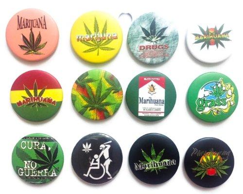 "MARIJUANA Marihuana grass Awesome Quality Lot 12 New Pin back Button Badge 1.25"""